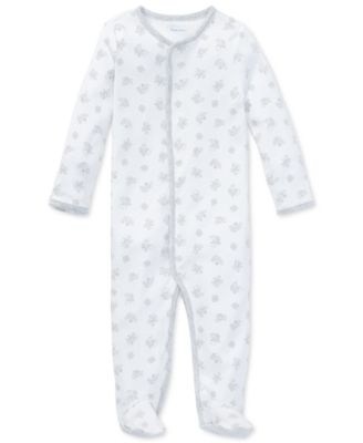Newborn baby girl or boy footie Carter/'s white w// moon and stars