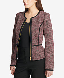 DKNY Tweed Piped Peplum Jacket, Created for Macy's