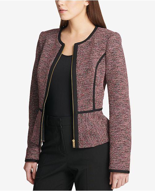 DKNY Knit Piped Peplum Jacket