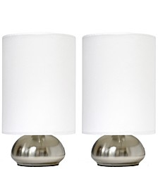 Simple Designs Gemini 2 Pack Mini Touch Table Lamp Set with Fabric Shades