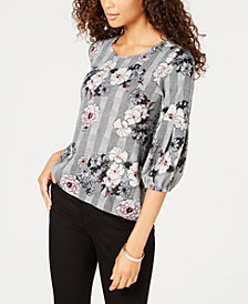 NY Collection Petite Printed Balloon-Sleeve Top