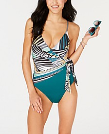 Handkerchief Printed Wrap One-Piece Swimsuit