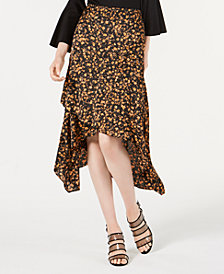 Bar III Ruffled Asymmetrical Midi Skirt, Created for Macy's