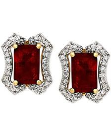 Ruby (1-3/8 ct. t.w.) & Diamond (1/6 ct. t.w.) Stud Earrings in 14k Gold
