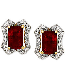 Ruby (1-3/8 ct. t.w.) & Diamond (1/6 ct. t.w.) Stud Earrings in 14k Gold