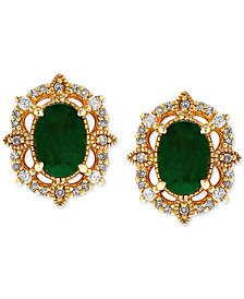 Emerald (9/10 ct. t.w.) and Diamond (1/8 ct. t.w.) Stud Earrings in 14k Gold