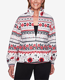 Alfred Dunner Petite Biadered Mock-Neck Sweater