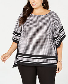 MICHAEL Michael Kors Plus Size Houndstooth-Print Top