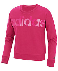 adidas Big Girls Logo-Print Cropped Cotton Sweatshirt