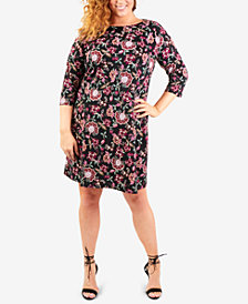 NY Collection Plus Size Necklace Jacquard-Knit Shift Dress