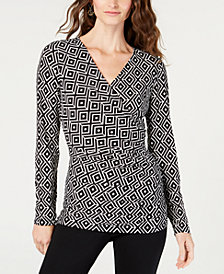I.N.C. Petite Ruched Faux-Wrap Top, Created for Macy's