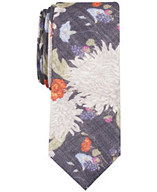 Bar III Men's Berwick Floral Skinny Wool Tie, Created for Macy's