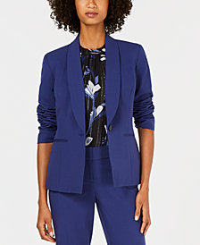 Nine West One-Button Shawl-Collar Stretch Jacket