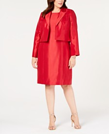 Le Suit Plus Size Shiny Flyaway Jacket & Dress Suit