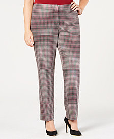 Nine West Plus Size Houndstooth Tapered Pants