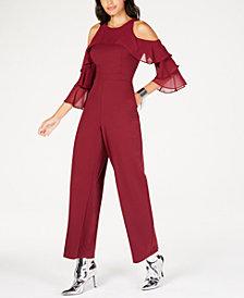 Thalia Sodi Cold-Shoulder Ruffled-Sleeve Jumpsuit, Created for Macy's