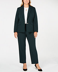 Kasper Plus Size Blazer, Cutout Top & Slim-Leg Pants