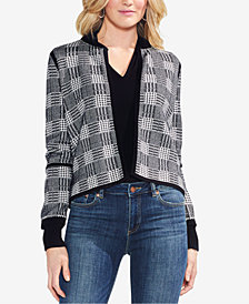 Vince Camuto Cotton Plaid Jacquard Cardigan Sweater