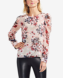 Vince Camuto Printed Puff-Shoulder Blouse