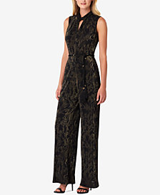Tahari ASL Metallic Crinkle-Pleated Jumpsuit