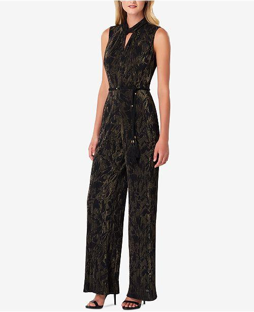 0adcac48e404 Tahari ASL Metallic Crinkle-Pleated Jumpsuit   Reviews - Dresses ...