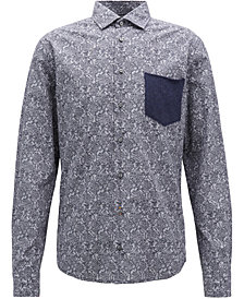 BOSS Men's Slim-Fit Cable-Knit Cotton Shirt