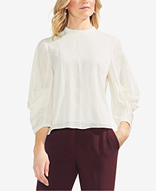 Vince Camuto Draped Tonal-Plaid Top
