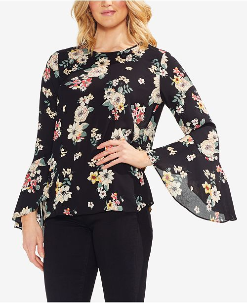 1088e5782017 Vince Camuto Floral-Print Bell-Sleeve Top & Reviews - Tops - Women ...