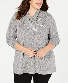 Style & Co Plus Size Lace-Trimmed Cowl-Neck Top, Created for Macy's