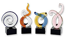 Badash Crystal Mini Swirl Art Glass Sculpture - Set of 4