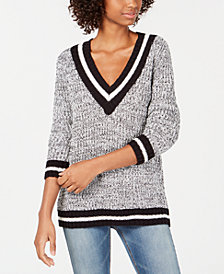 Freshman Juniors' Stripe-Trimmed Marled Sweater