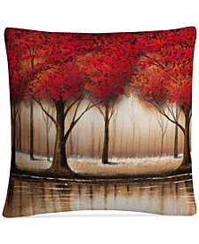 "Rio Parade of Red Trees 16"" x 16"" Decorative Throw Pillow"