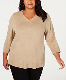 Karen Scott Plus Size Luxsoft V-Neck 3/4-Sleeve Sweater, Created for Macy's