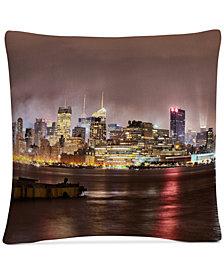 """David Ayash Midtown Manhattan Over the Hudson River 16"""" x 16"""" Decorative Throw Pillow"""