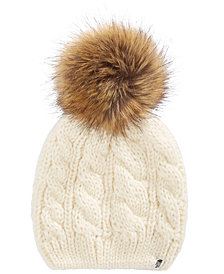 The North Face Big Girls Cable-Knit Hat with Faux-Fur Pom-Pom