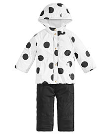 Carter's Little Girls Dot-Print Hooded Snowsuit