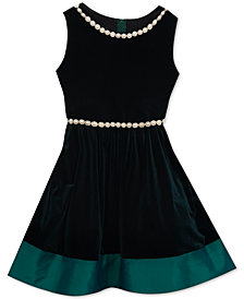 Rare Editions Big Girls Plus Pearl-Trim Velvet Dress