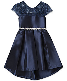Rare Editions Big Girls Embroidered Illusion-Neck Dress
