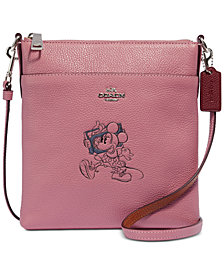 COACH Minnie Motif Messenger Crossbody in Pebble Leather, Created for Macys
