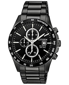 Citizen Men's Chronograph Quartz Black Stainless Steel Bracelet Watch, Created for Macy's, 42mm