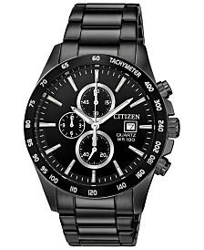 Citizen Men's Chronograph Quartz Black Stainless Steel Bracelet Watch, Created for Macy's, 42mm