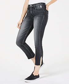 Flying Monkey Ankle-Slit Cropped Skinny Jeans