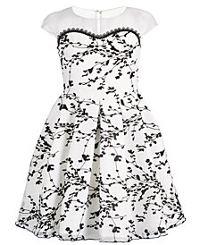 Bonnie Jean Big Girls Illusion-Neck Flocked Dress
