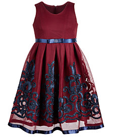 Bonnie Jean Big Girls Embroidered Mesh Dress