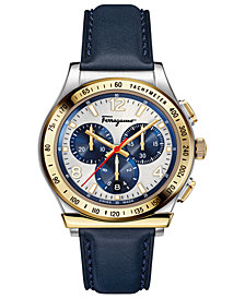 Ferragamo Men's Swiss Chronograph 1898 Blue Leather Strap Watch 42mm