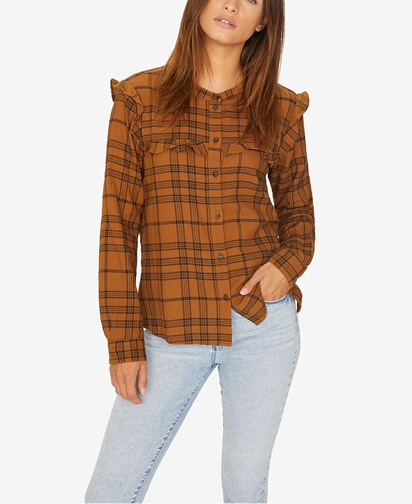 Sanctuary Ruffled Plaid Shirt