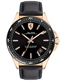 Ferrari Men's Pilota Black Leather Strap Watch 42mm