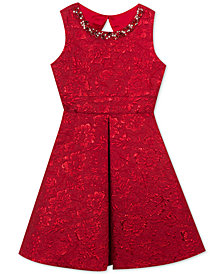 Rare Editions Big Girls Embellished Neck Brocade Dress
