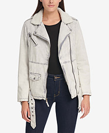 Levi's® Oversized Acid Wash Cotton Moto Jacket