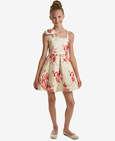Rare Editions Big Girls One Shoulder Brocade Bow Dress